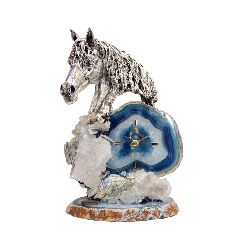 Gorgeous Silver Horse Quartz Clock | 14″