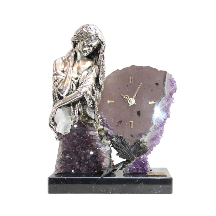 Silver Bella Amethyst Clock | 11.5″