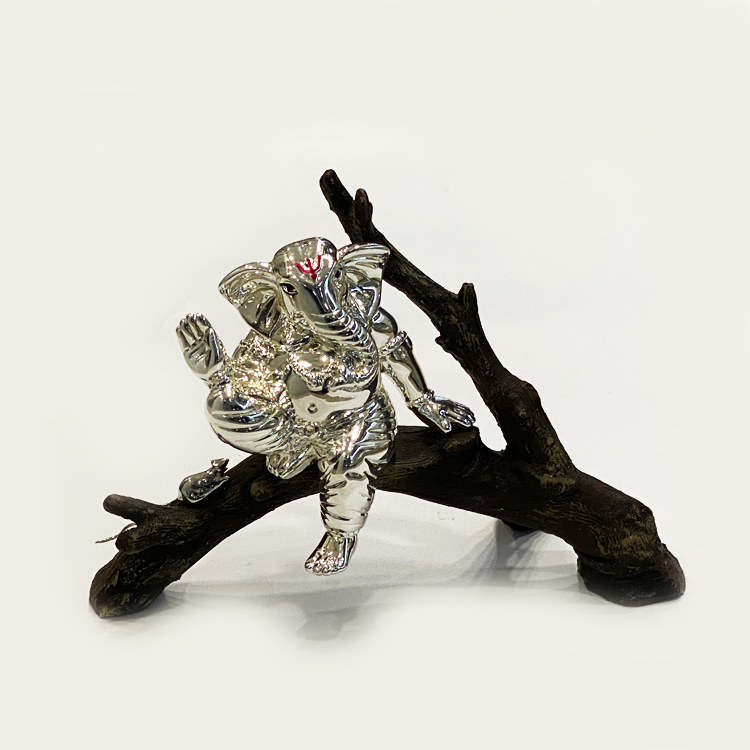 Ganesha on Tree Branch in Silver | 5.5″ Ht.