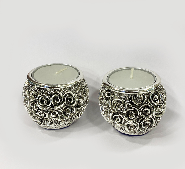 Silver Drum Shape Tealight Pair | 2 Inch Ht.
