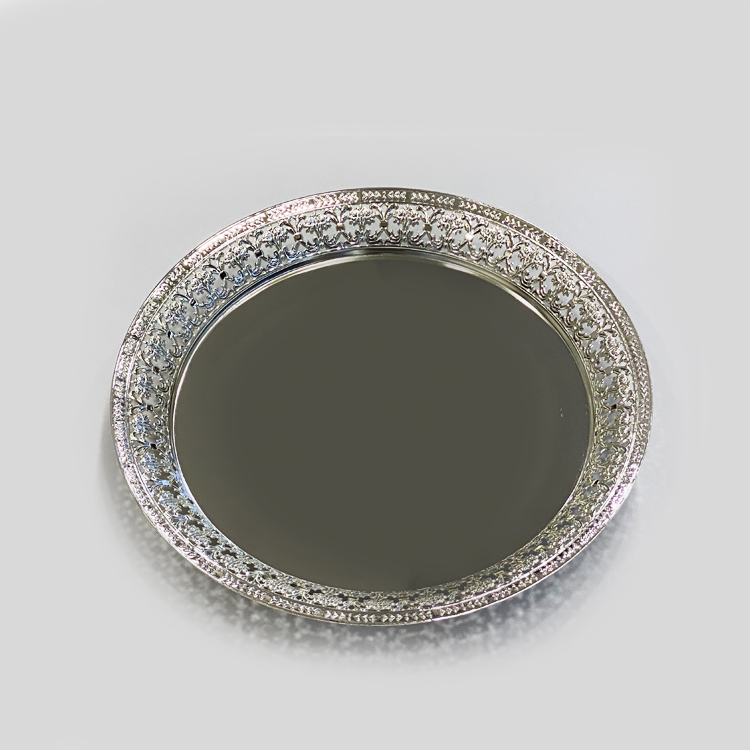 Silver Plated Round Embossed Tray  |13″