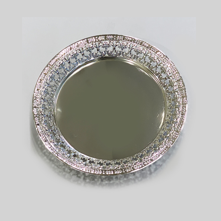 Silver Plated Round Embossed Plate |10″