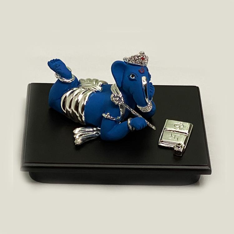 Bahi Khata Silver Ganesh Blue  | 6.0 Inch Long