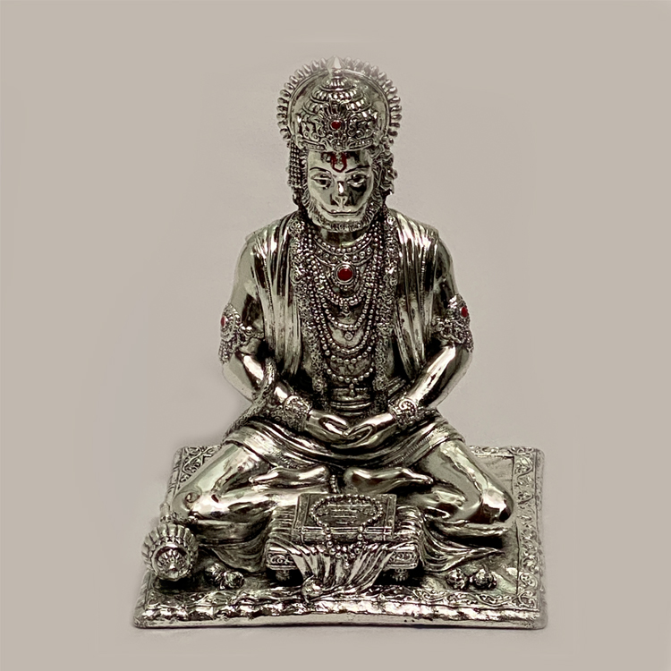 Silver Hanuman Reading Geeta | 7.5″ Ht.