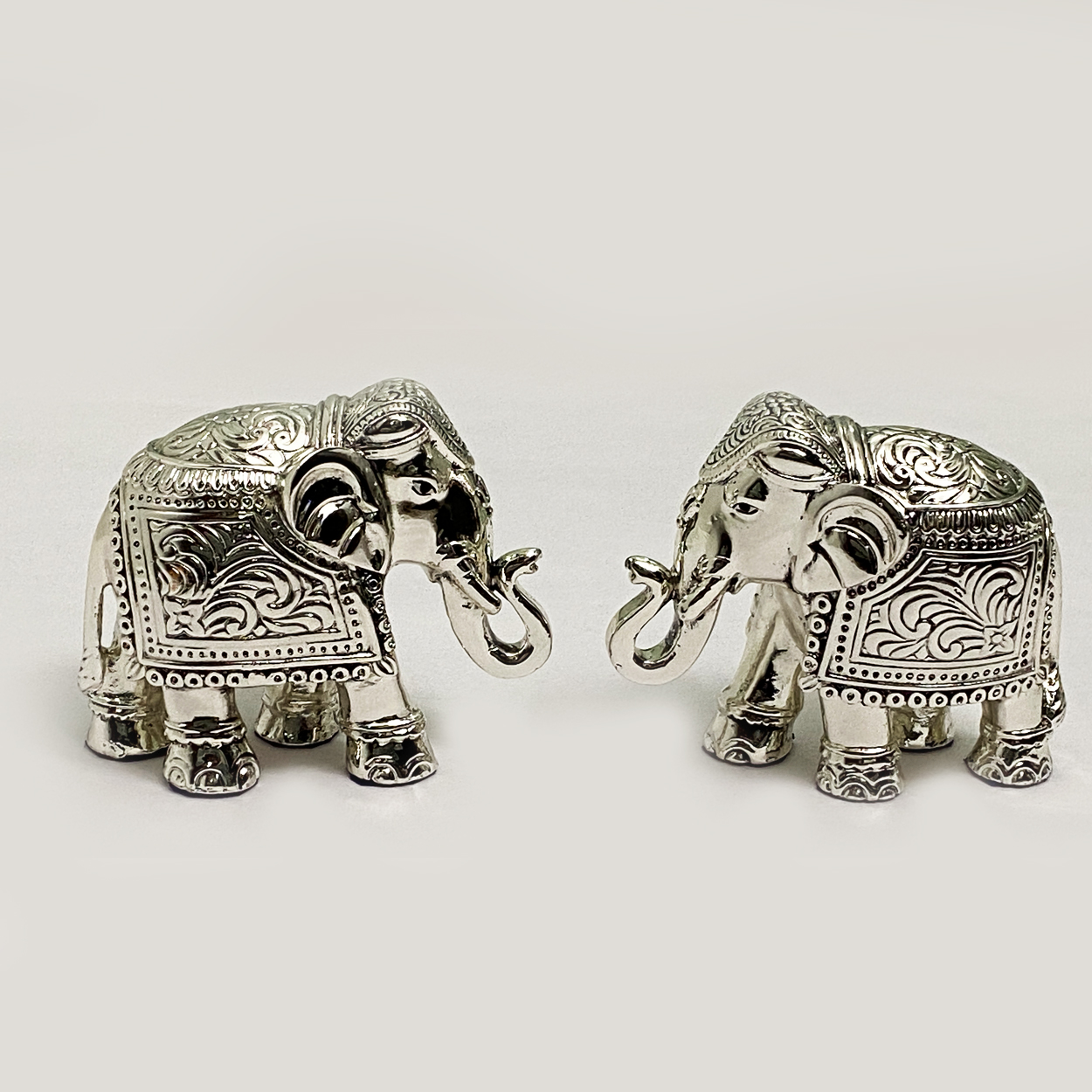 Gorgeous Silver Elephant Pair |  3″ Ht.