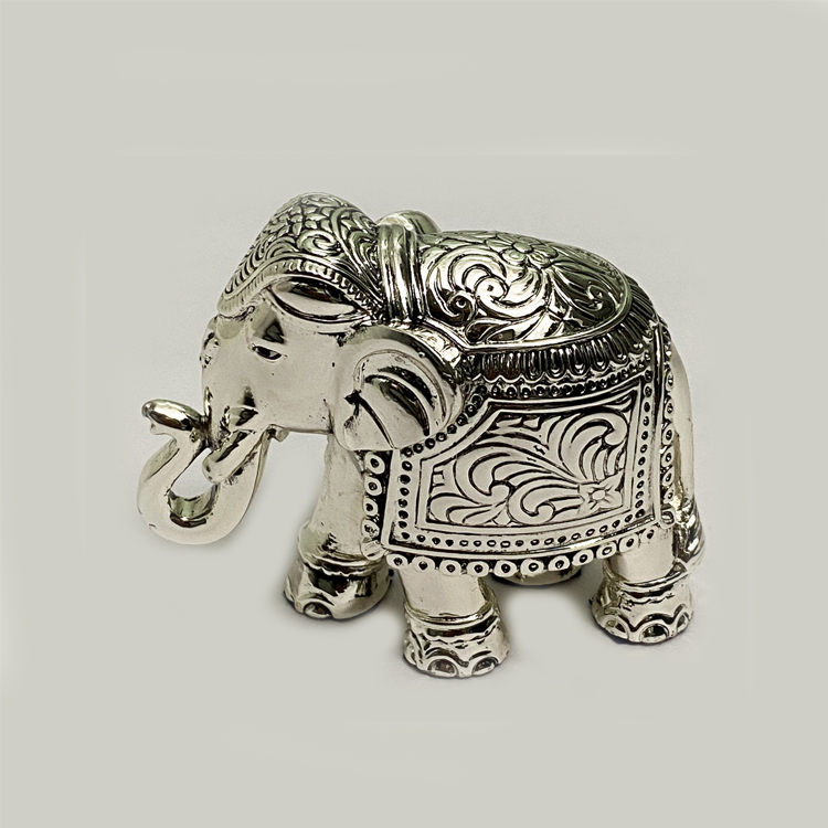 Fine Silver Elephant Gift  3″ – Resin Silver