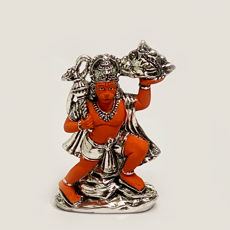 Geru Color Silver Hanuman with Pahar | 6″