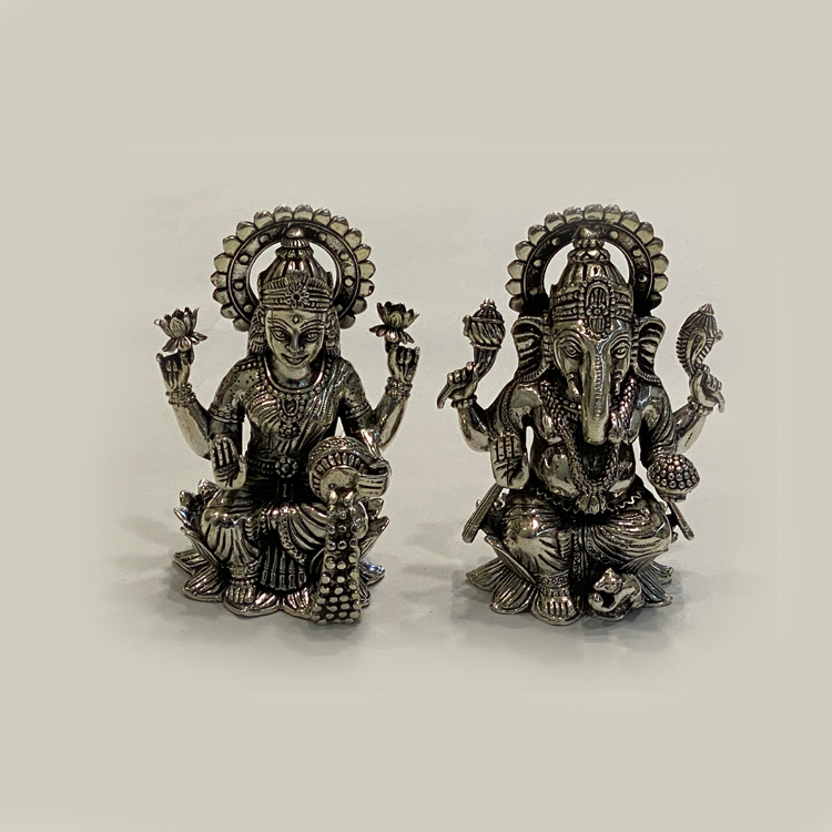 Pure Silver Laxmi Ganesh on Kamal | 4″