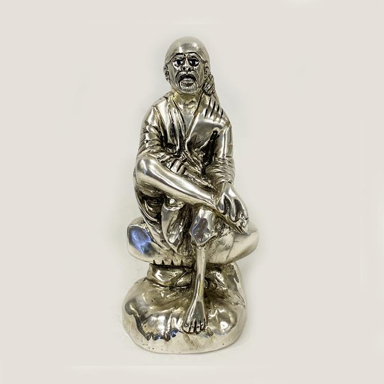 Pure Silver Sai Baba Idol | 3.2″ Ht