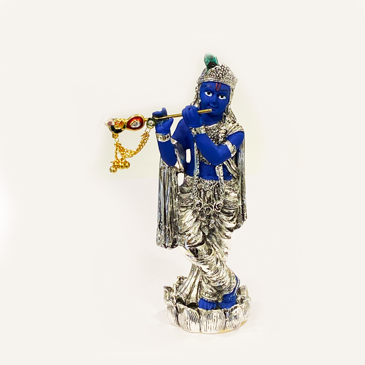 Silver Krishna Statue in Blue Color | 5.7″ Ht