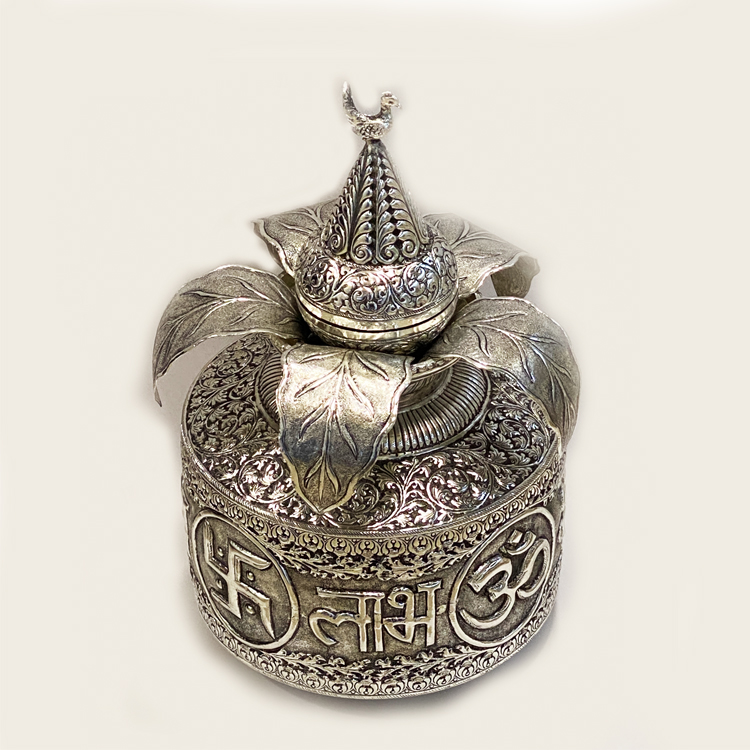 Royal Silver Plated Kalash with Nariyal | 9 Inch