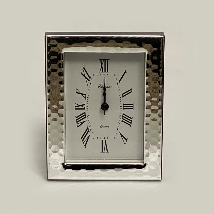 925 Silver Frame Table Clock Beaten Effect | 6.7 Inch