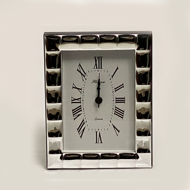 Silver Frame Table Clock Squares Pat. | 6.7 Inch