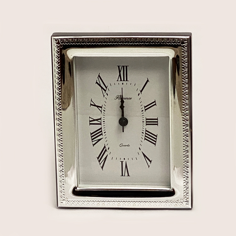 Silver Frame Table Clock Beaded Pat. | 6.7 Inch
