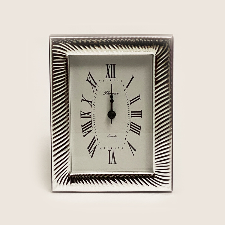 Silver Table Clock Fluted  | 6.7 Inch