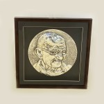 Silver Wall Plaque of Mahatma Gandhi | 17 Inch