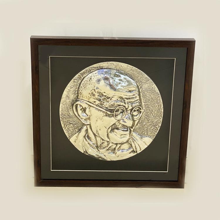 Silver Wall Plaque of Mahatma Gandhi | 17 Inch
