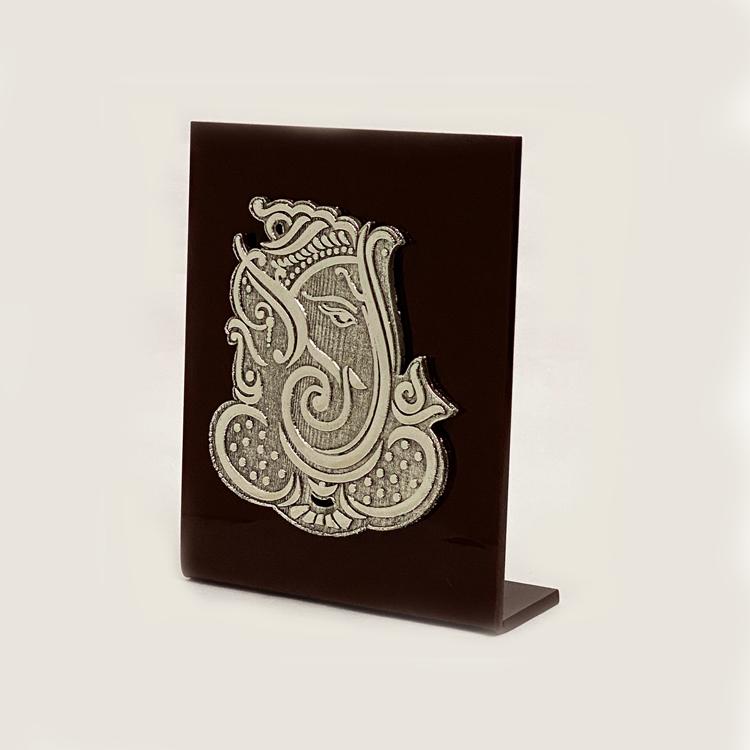 Silver Modern Ganesh Plaque  | 7.5 Inch