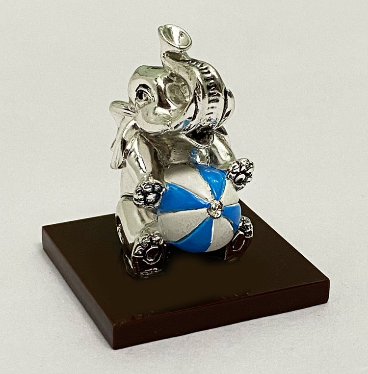 Cute Silver Baby Ele with Blue Ball | 2.5 Inch