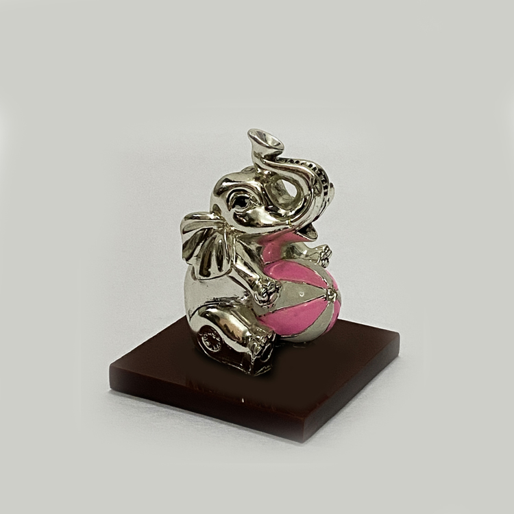 Cute Silver Baby Ele with Pink Ball | 2.5 Inch