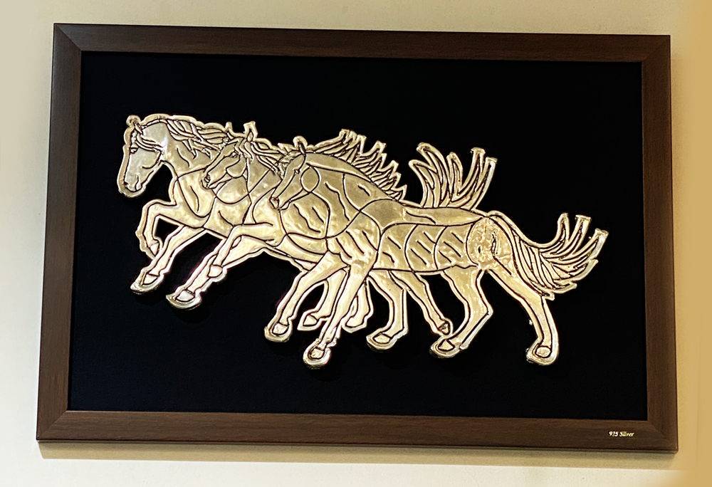 Silver Wall Plaque of Running Horses | 15 Inch