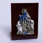 A Mini Silver Radha Krishna Plaque | 3.5″