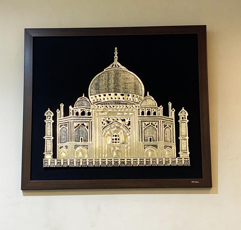 Silver Wall Plaque of Taj Mahal | 12.5 Inch