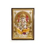 A Silver Tabletop & Plaque of Ganesha | 9.5 Inch