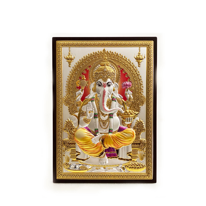 Silver Tabletop & Plaque of Ganesha | 9.5 Inch