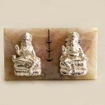 Silver Laxmi Ganesh on Rose Quartz | 9 Inch