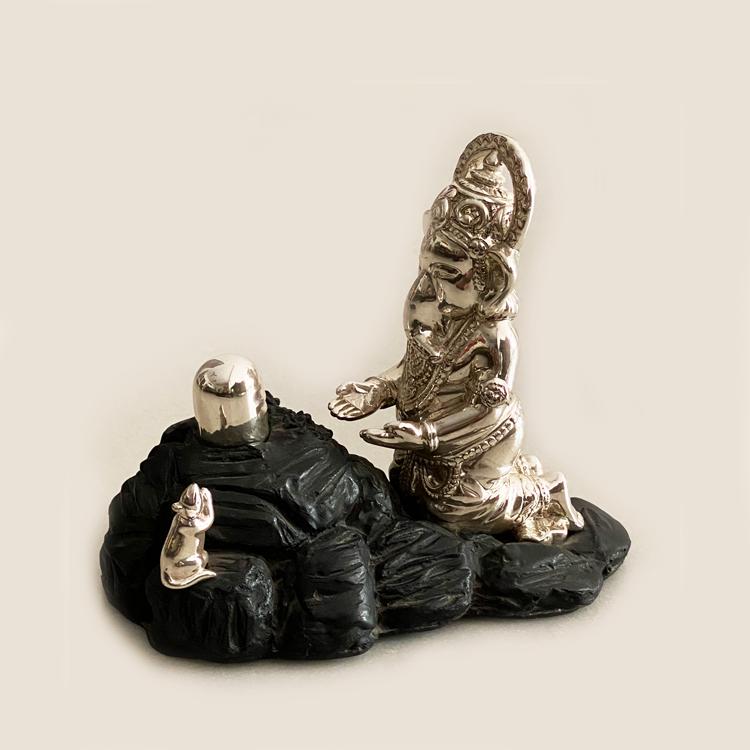 Silver Shiv Ganesha on Black Hill Rock | 9 Inch