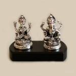 Silver Laxmi Ganesh on Wood Base  | 6 Inch – Resin Silver