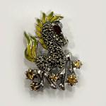 Beautiful Animal Brooch Semi Stones| 30×35 mm