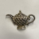 Cute Tea Kettle Brooch Merc Stones| 30×40 mm
