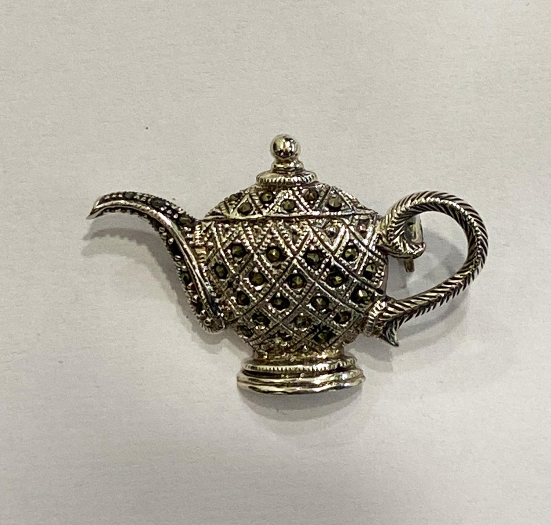 Cute Tea Kettle Brooch Merc Stones  30×40 mm
