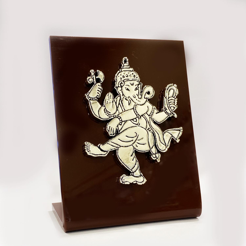 Dancing Silver Ganesha Statue   5 Inch