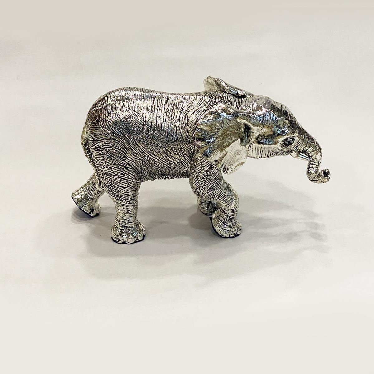 Exquisite Artistic Silver Elephant Statue   8.0″ long