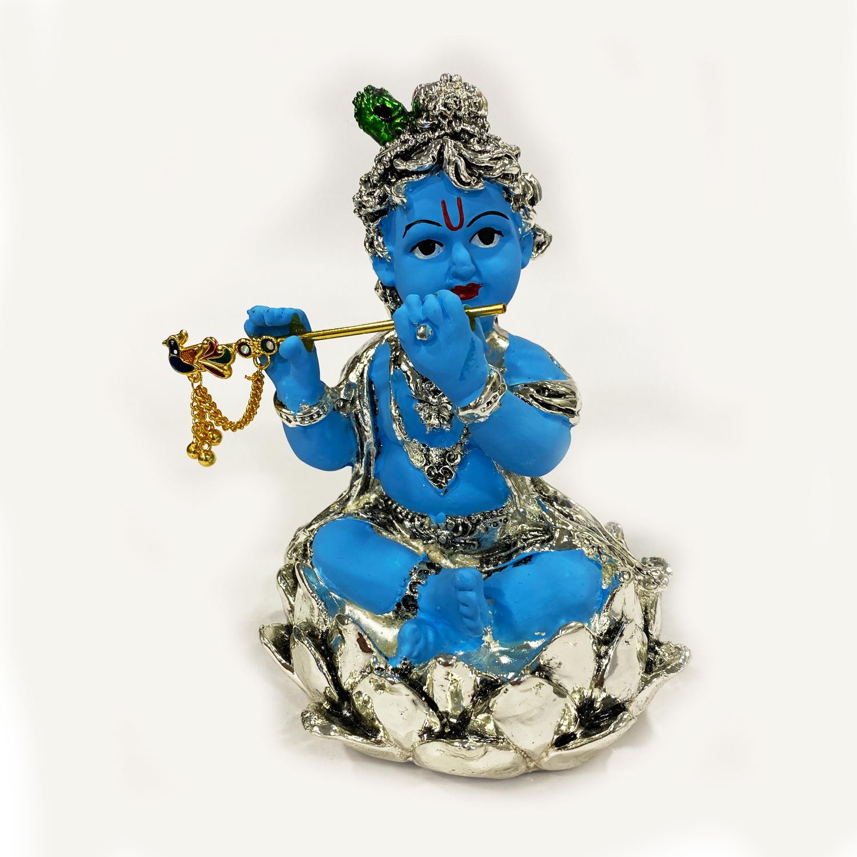 a Silver Baby Krishna in Kamal   5.2 Inch