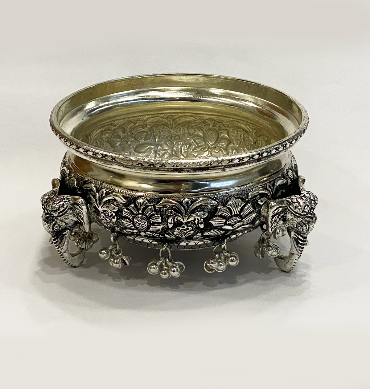 Artistic Silver Plated Bowl or Urli   5.5 Inch
