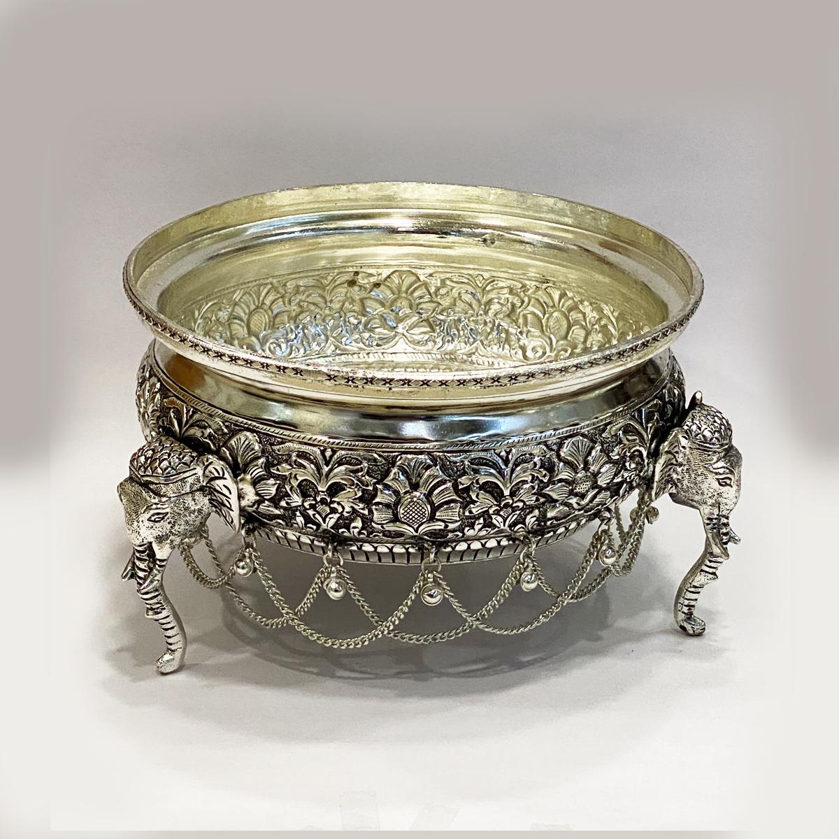 a Super Silver Antique Bowl or Urli   8 Inch