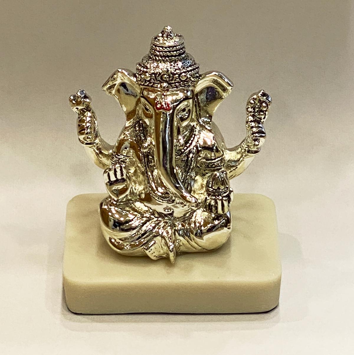 a Silver Ganesha Idol Marble Base   4.0″