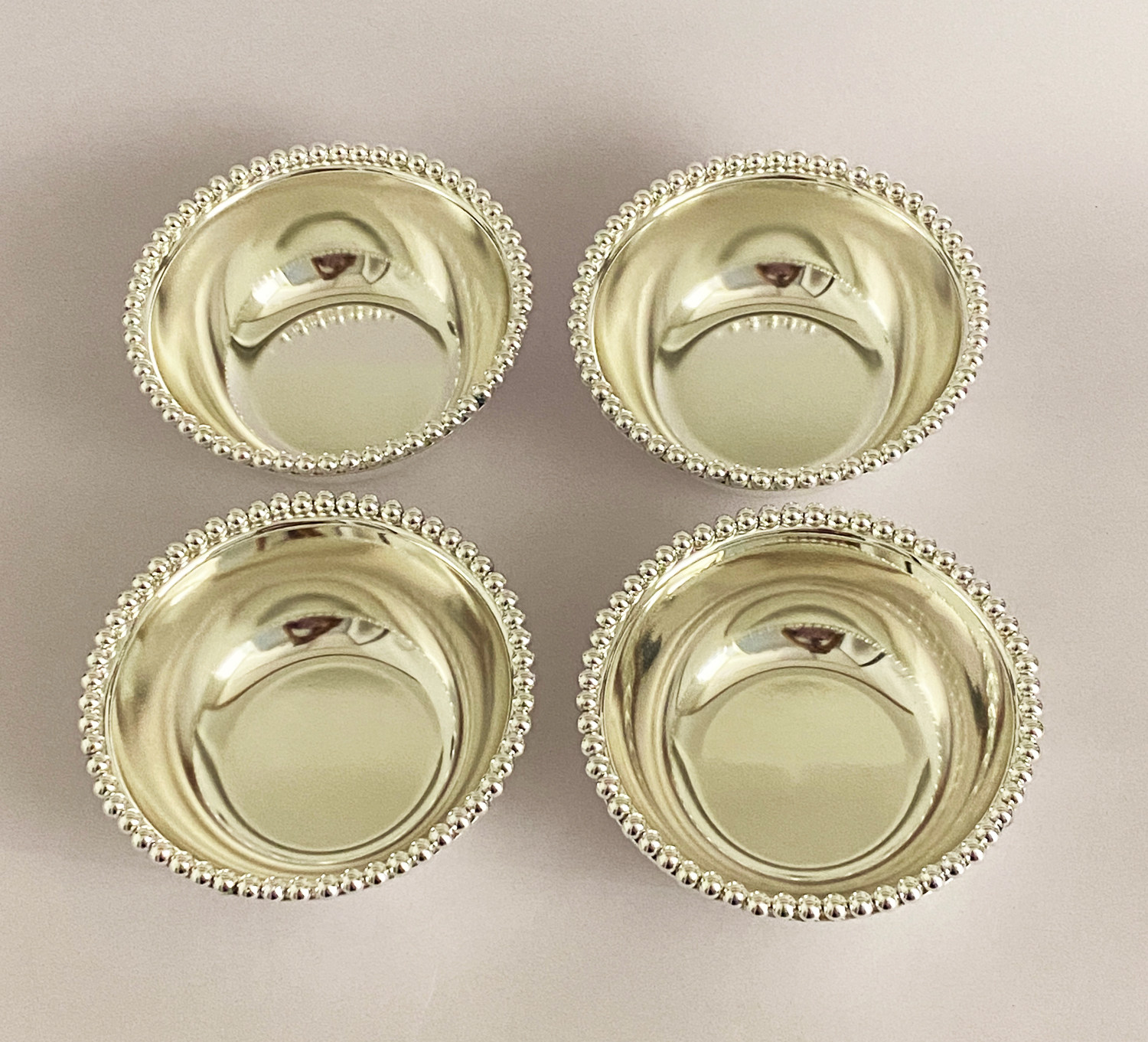 Silver Plated Set of 4 Bowls – Ball Bead   4.5″ each