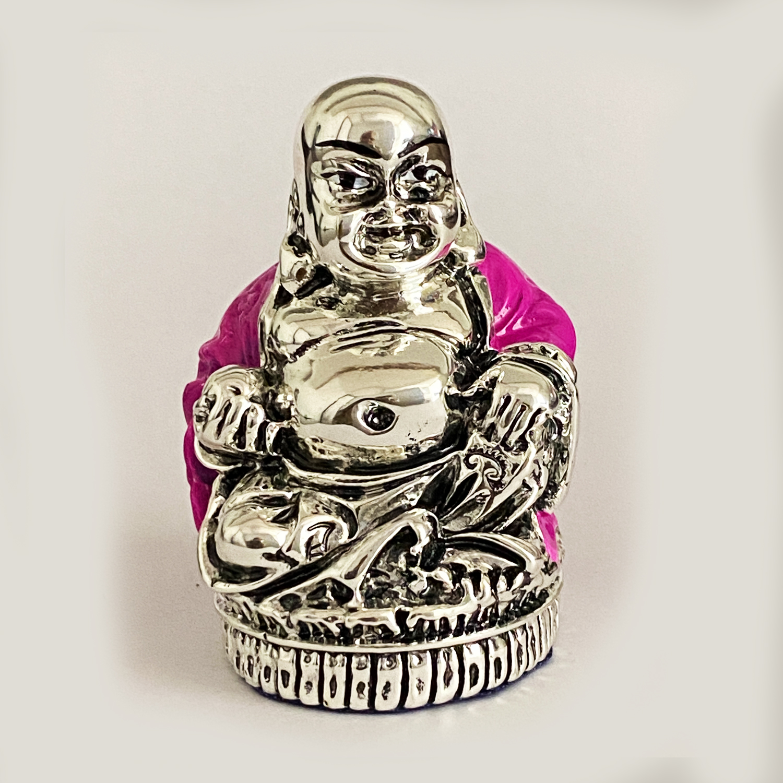 SIlver Laughing Buddha Red Enamel   2.5″