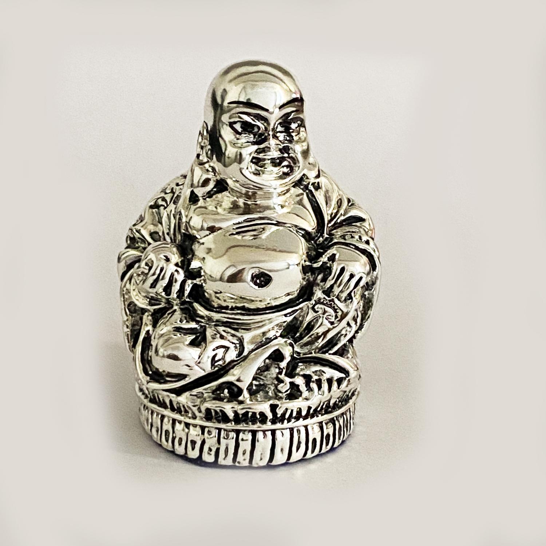 Mini SIlver Laughing Buddha Statue    2.5″