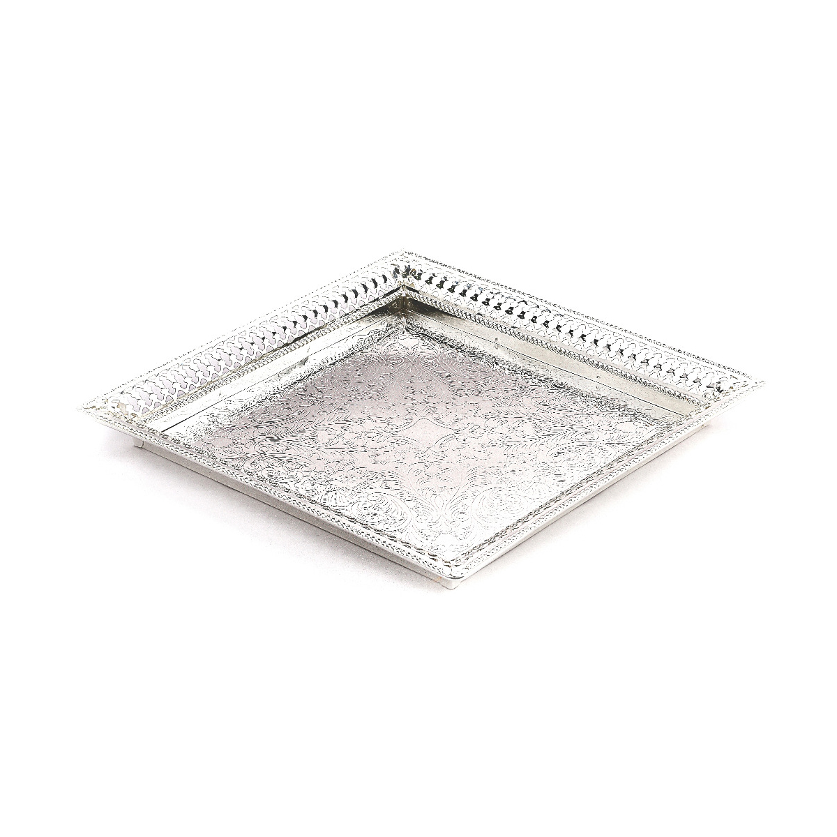 Square Silver Plated Centerpiece   11.2×11.2″