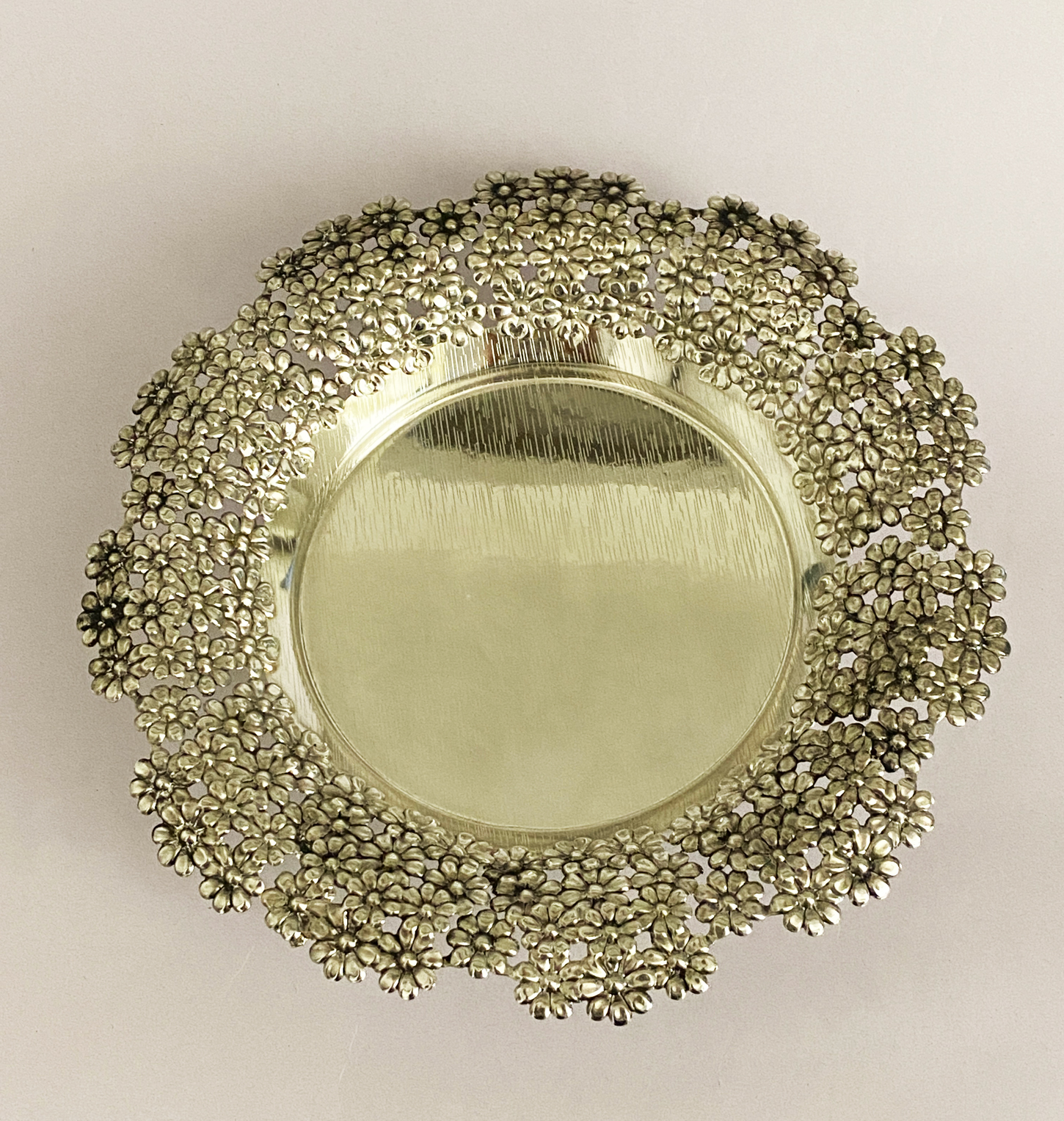 Antique Silver Plated Round Dish   9″ dia