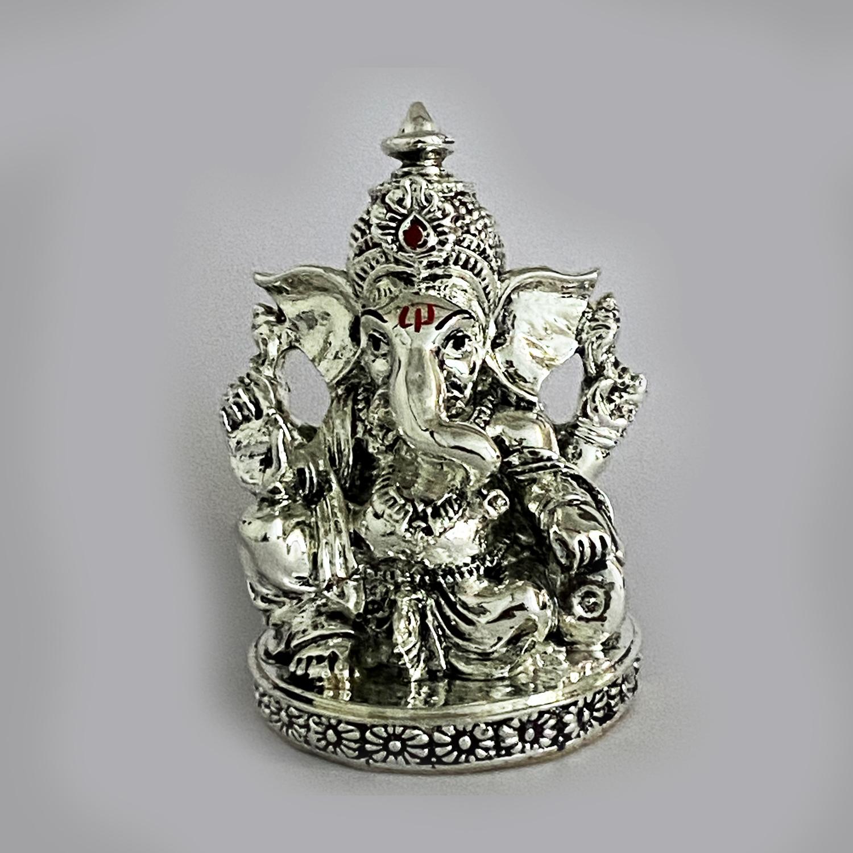 Artistic Antique Silver Ganesh Idol   3.5 inch