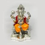Buy Silver Ganesh Idol with Enamel   6 Inch