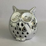 Silver Coated Owl Night Lamp  | 4 inch