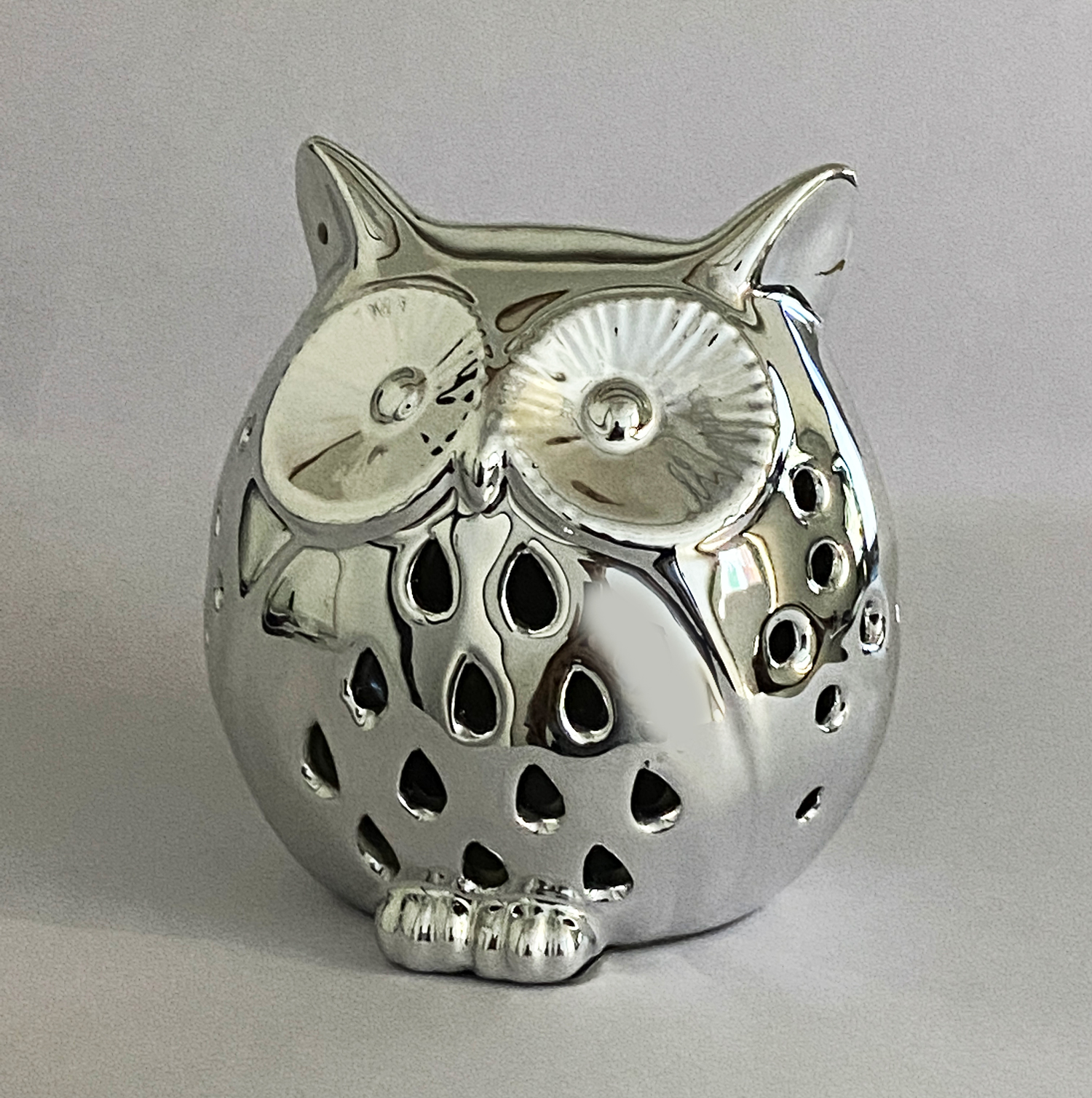 Silver Coated Owl Night Lamp    4 inch